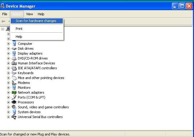 How to access Device Manager in Windows : How to scan for Hardware changes in Windows (4/6)