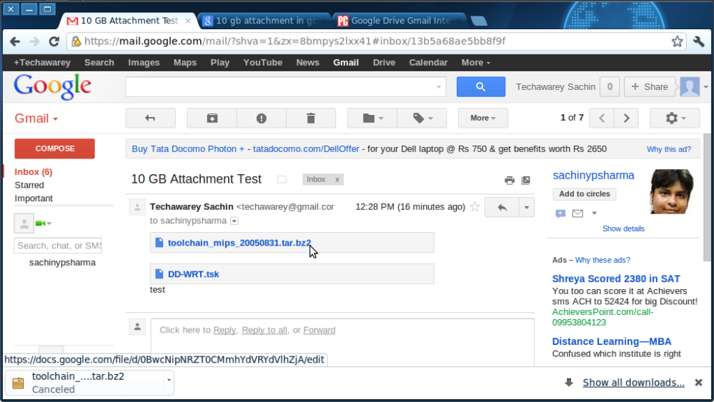 How to do 10 GB Attachment in Gmail (6/6)