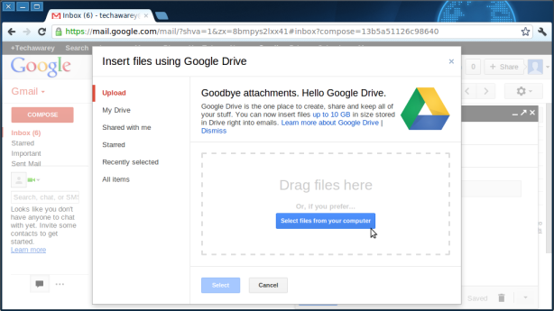 Gmail-Upload files from Google Drive